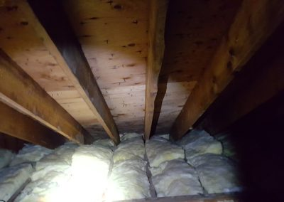 Mold staining caused by improper insulation which is blocking SOFFIT intake venting