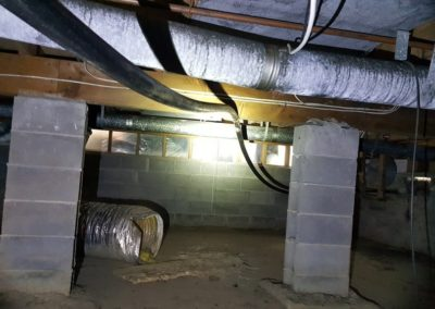 Use of flexible draininge used in this crawlspace, for no other reason but to save costs associated with installation of traditional pipes.