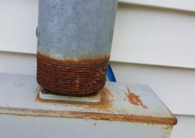 Properly seal this service cable entrance conduit to prevent water penetration inside to the electric panel.